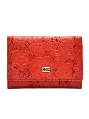 Кошелек женский кожа Desisan 305-424 красный цветы