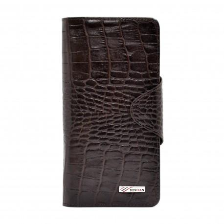 Портмоне кожа Desisan 225-19 коричневый кроко