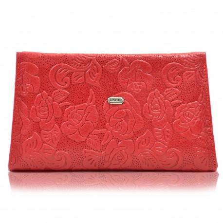 Косметичка кожа Desisan 2-424 красные цветочки