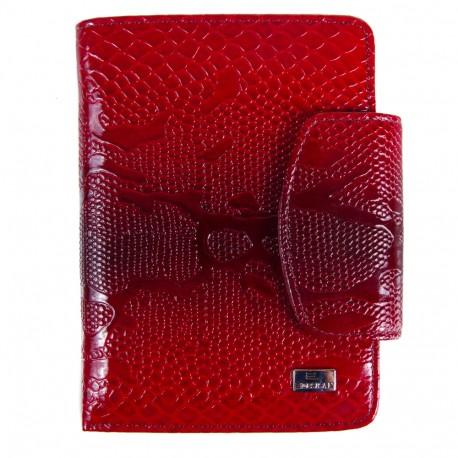 Кошелек женский кожа Desisan 086-500 красный узор лак