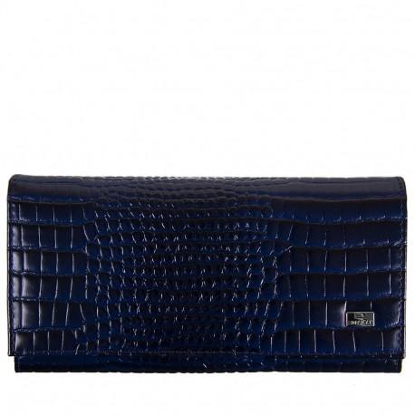 Кошелек женский кожа Desisan 057-634 синий кроко лак
