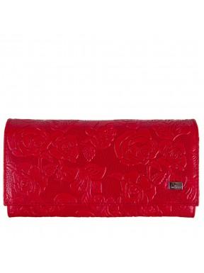 Женское портмоне кожаное Desisan 057-424 красные цветы