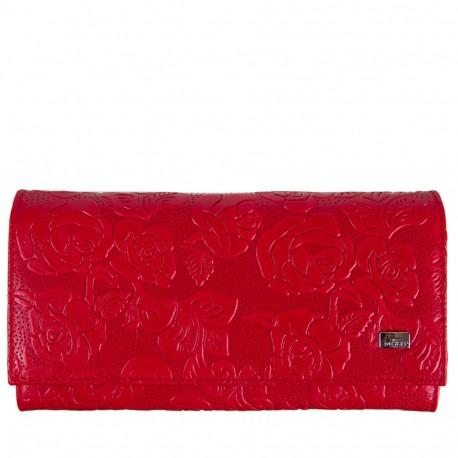 Кошелек женский кожа Desisan 057-424 красные цветы