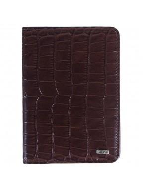Обложка для паспорта кожа GRASS 570-30 коричневый кроко кроко