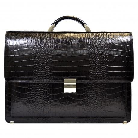 Портфель кожа Desisan 216-11 черный кроко