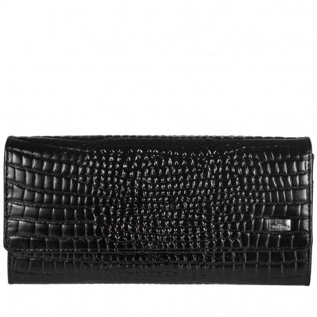 Кошелек женский кожа Desisan 150-633 черный мелкий кроко