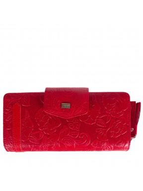 Кошелек женский кожаный Desisan 731-424 красный цветы