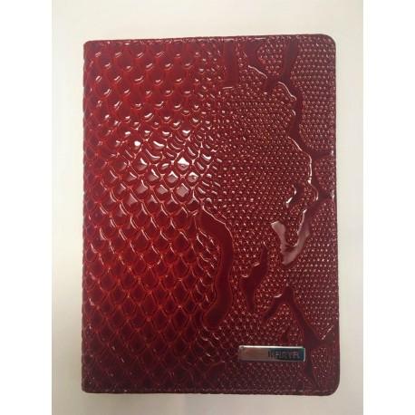 Обложка для паспорта кожаная KARYA 092-019 красный узор