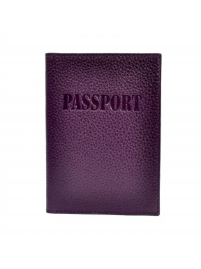 Обложка для паспорта кожаная 003-95 фиолетовый флотар