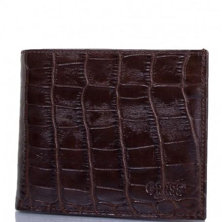 Портмоне кожа GRASS 324-30 коричневый  кроко