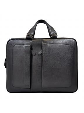 Портфель мягкий кожаный BOND 1103-281 черный флотар