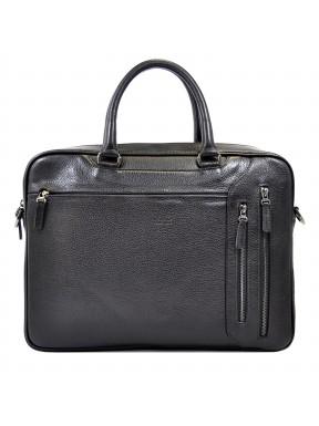 Портфель мягкий кожаный BOND 1095-281 черный флотар