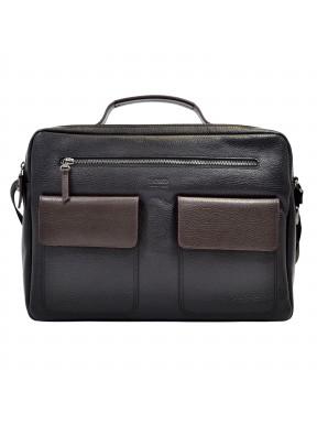 Портфель мягкий кожаный BOND 1120-281-2 черный-коричневый