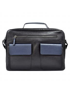 Портфель мягкий кожаный BOND 1120-281-9 черный-синий