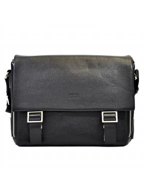 Портфель мягкий кожаный BOND 1379-281 черный флотар