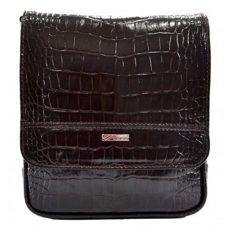 Барсетка кожа мягкая DESISAN 417-19 коричневый кроко