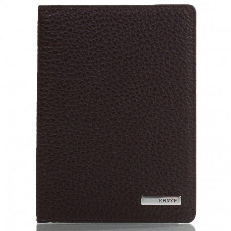Обложка для паспорта кожа KARYA 092-39 коричневый флотар