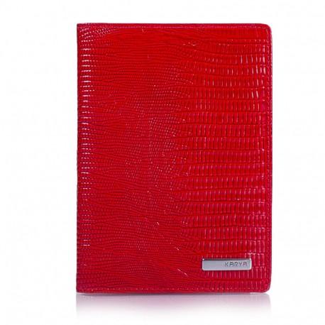 Обложка для паспорта кожа KARYA 092-074 красный лазер