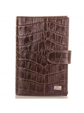 Обложка авто+паспорт  кожа Desisan 102-19 коричневый кроко