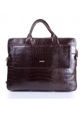 Портфель кожаный Desisan 1348-19 коричневый кроко