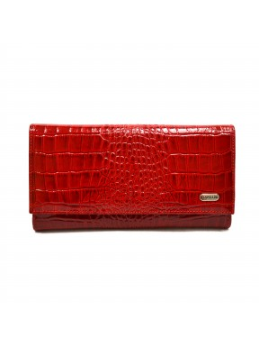 Женское портмоне из натуральной кожи CANPEL 157-142 красный кроко лак