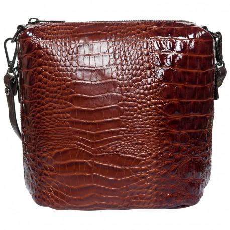 Сумка женская  кожа Desisan 1484-587 рыжий кроко лак