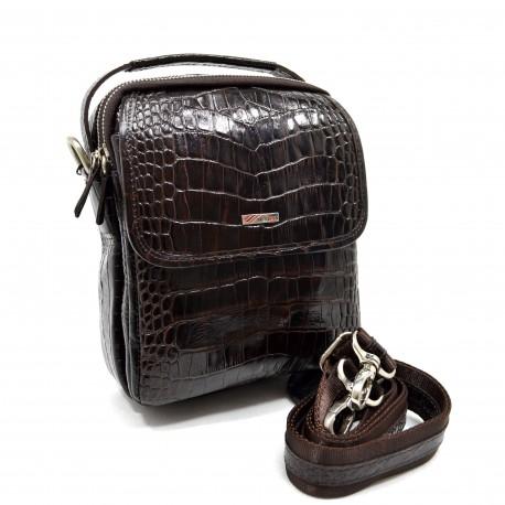 Барсетка кожа мягкая DESISAN 1344-19 коричневый кроко
