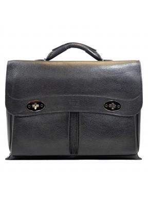 Портфель мягкий кожаный BOND 1223-281 черный флотар
