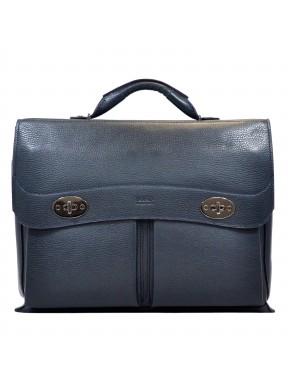 Портфель мягкий кожаный BOND 1223-1170 синий флотар