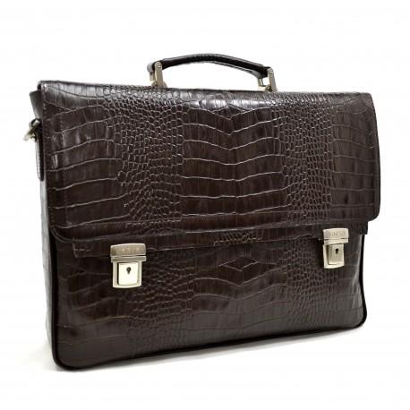 Портфель кожа KARYA 0146-57 коричневый кроко