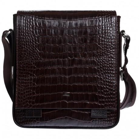 Барсетка кожа мягкая DESISAN 420-19 коричневый кроко