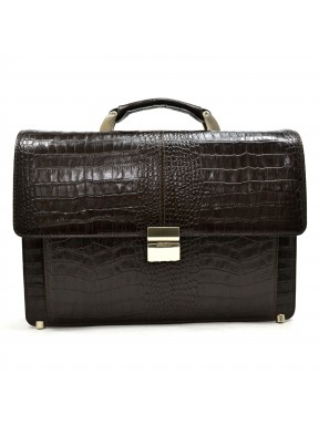 Портфель кожаный KARYA 0229-57 коричневый кроко