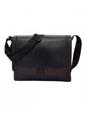 Портфель мягкий кожаный BOND 1123-281-2 черно-коричневый
