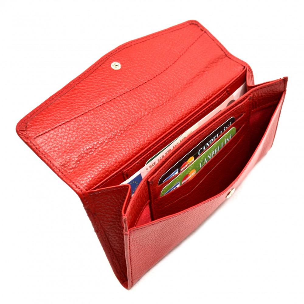 Женское портмоне кожа красное